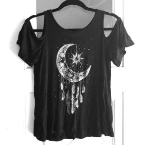Charlotte Russe Moon Dreamcatcher open shoulder T